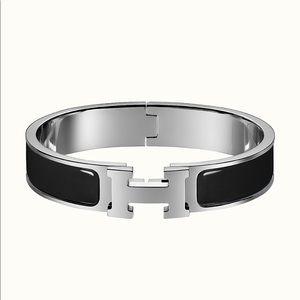 Hermès Clic Bracelet Black Enamel Silver Paladium